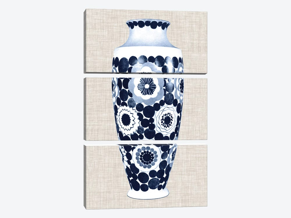 Blue & White Vase V by World Art Group Portfolio 3-piece Canvas Art Print