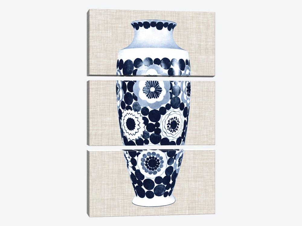 Blue & White Vase V by World Art Group Portfolio 3-piece Canvas Art Print