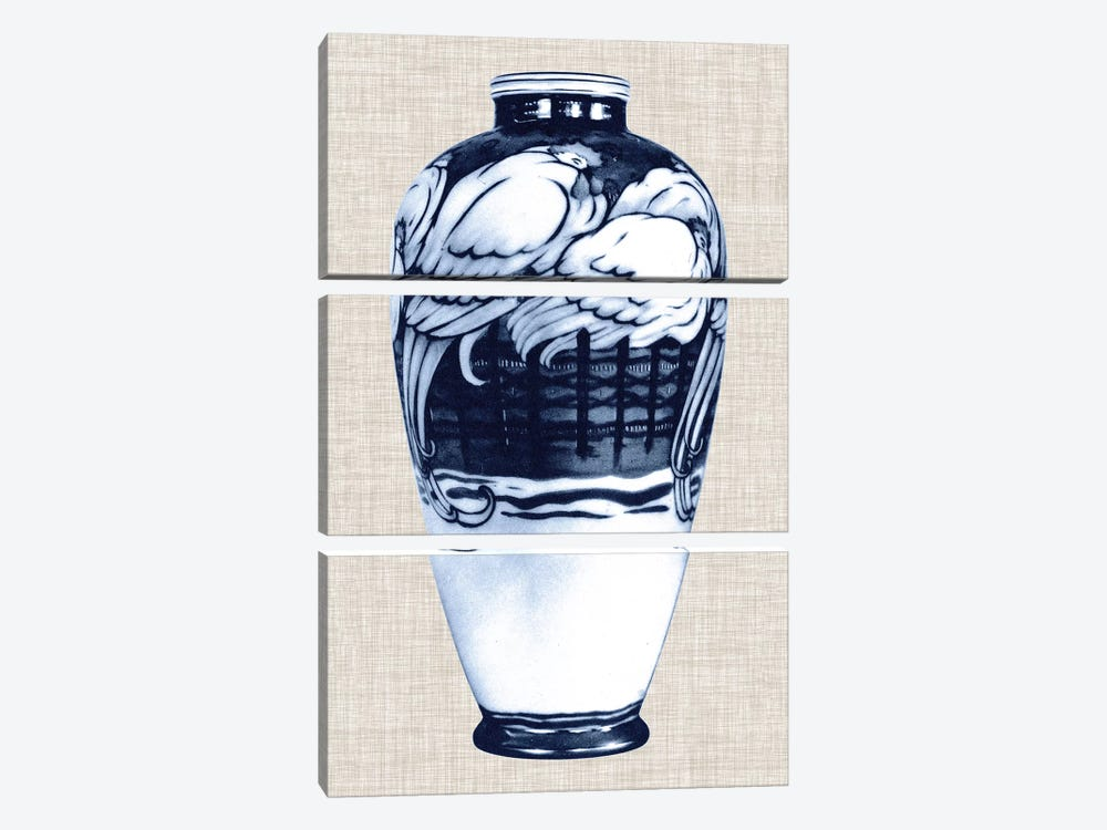 Blue & White Vase VI by World Art Group Portfolio 3-piece Canvas Artwork