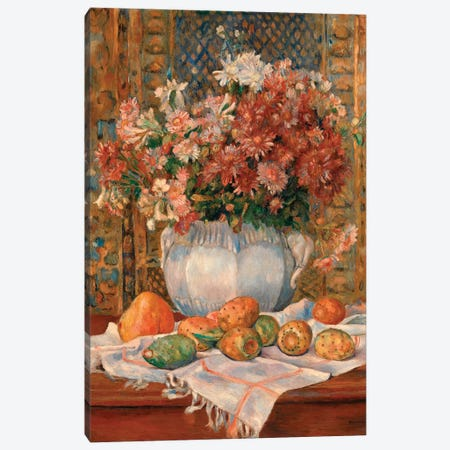 Still Life With Flowers And Prickly Pears Canvas Print #WAG46} by Pierre-Auguste Renoir Canvas Art