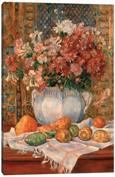 Still Life With Flowers And Prickly Pears Canvas Art Print