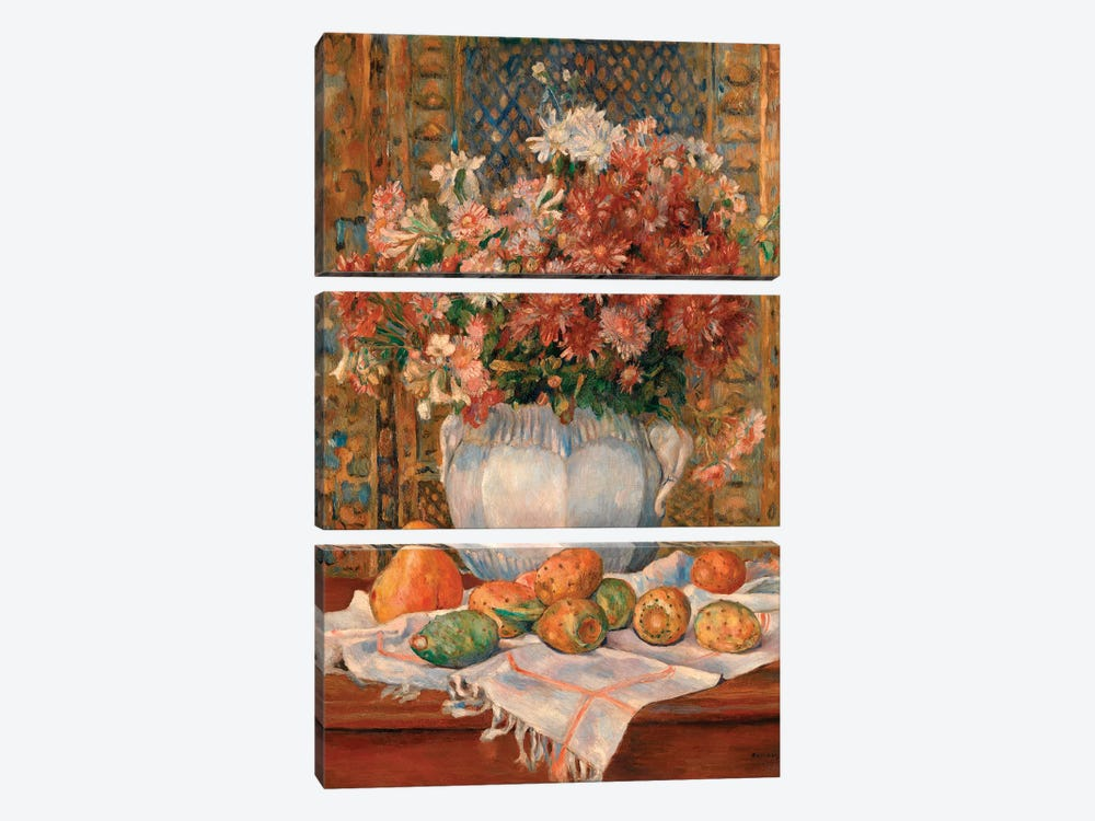 Still Life With Flowers And Prickly Pears by Pierre-Auguste Renoir 3-piece Art Print