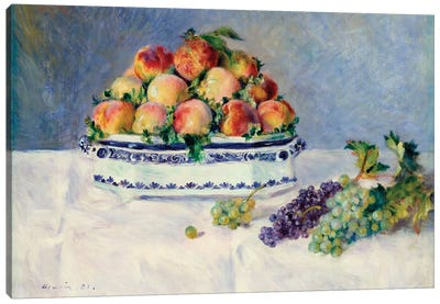 Still Life With Peaches And Grapes Canvas Art Print