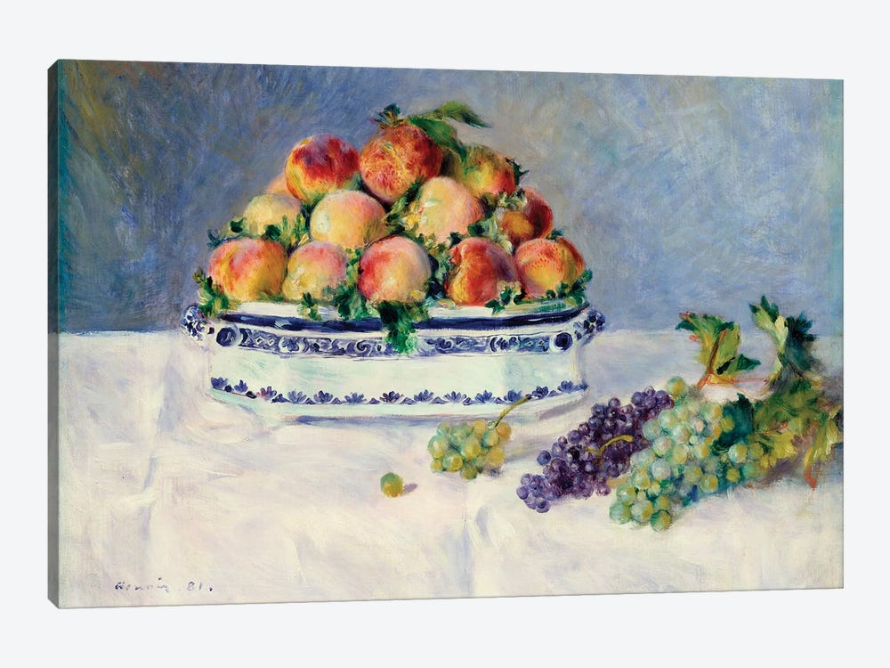 Still Life With Peaches And Grapes by Pierre-Auguste Renoir 1-piece Canvas Wall Art