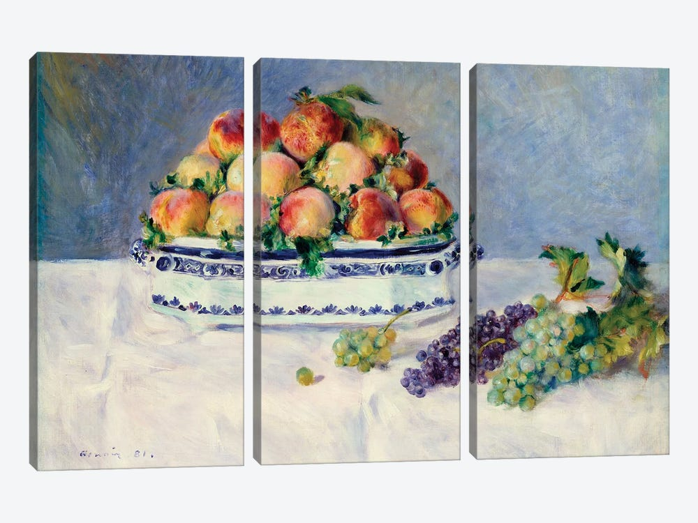 Still Life With Peaches And Grapes by Pierre-Auguste Renoir 3-piece Canvas Art