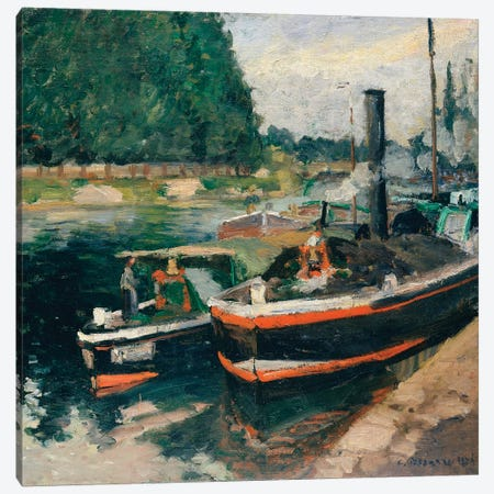 Barges At Pontoise Canvas Print #WAG48} by Camille Pissarro Art Print
