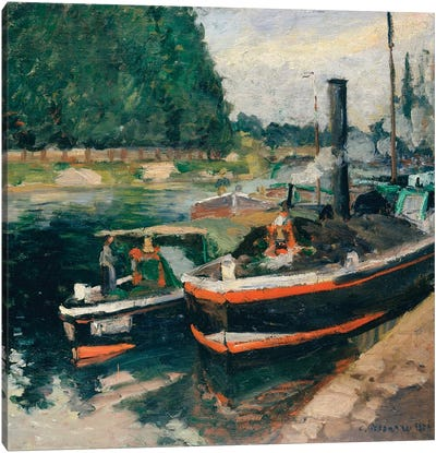 Barges At Pontoise Canvas Art Print
