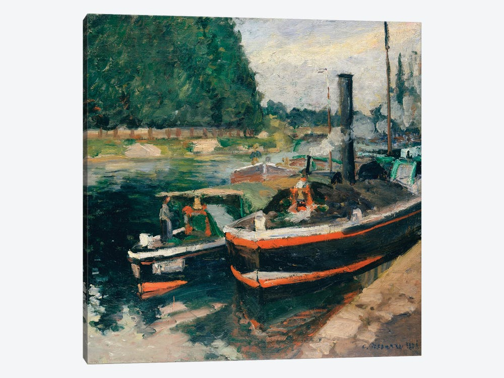 Barges At Pontoise by Camille Pissarro 1-piece Art Print