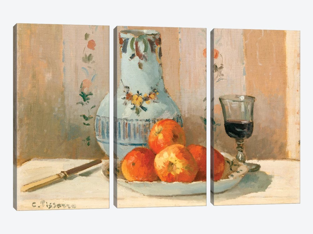 Still Life With Apples And Pitcher by Camille Pissarro 3-piece Canvas Print