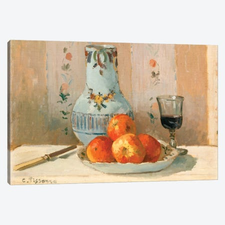 Still Life With Apples And Pitcher 3-Piece Canvas #WAG51} by Camille Pissarro Canvas Art