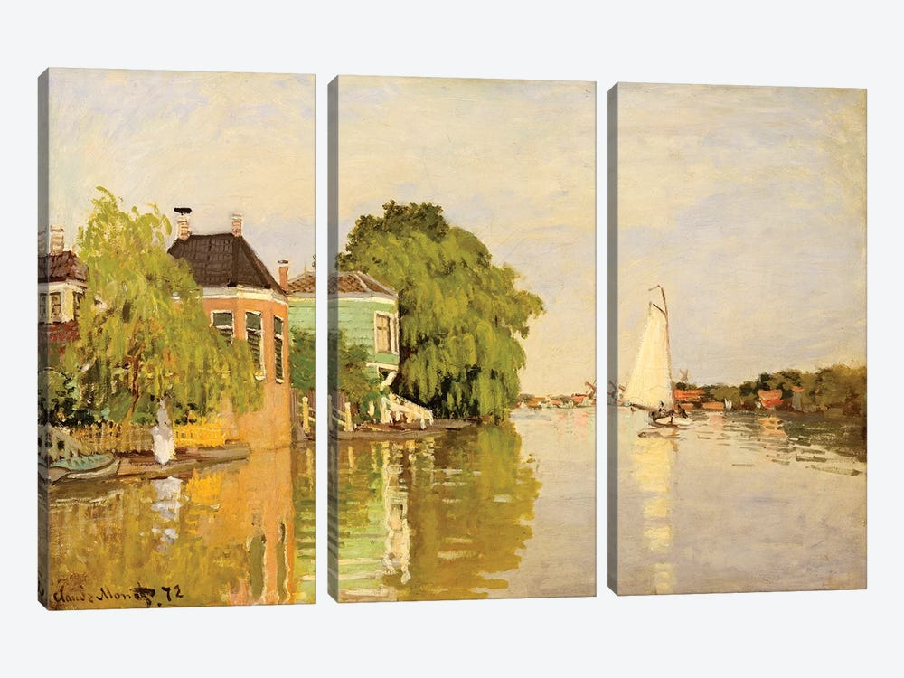 Houses On The Achterzaan by Claude Monet 3-piece Art Print