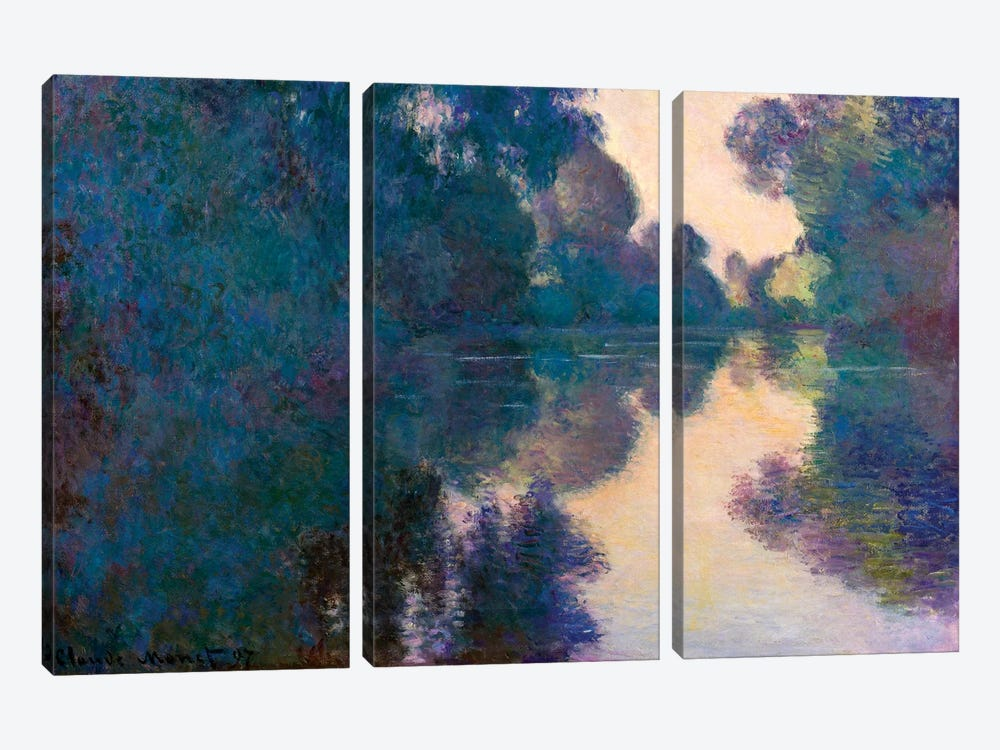 Morning On The Seine Near Giverny by Claude Monet 3-piece Canvas Wall Art