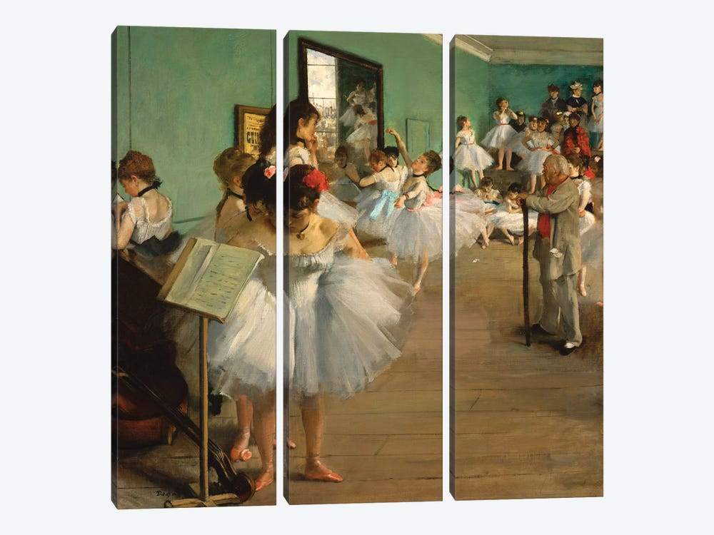 The Dance Class, 1874 by Edgar Degas 3-piece Canvas Art Print