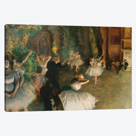 The Rehearsal Of The Ballet Onstage Canvas Print #WAG67} by Edgar Degas Canvas Wall Art