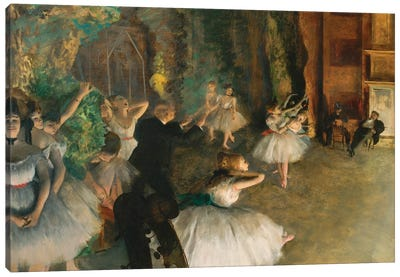 The Rehearsal Of The Ballet Onstage Canvas Art Print