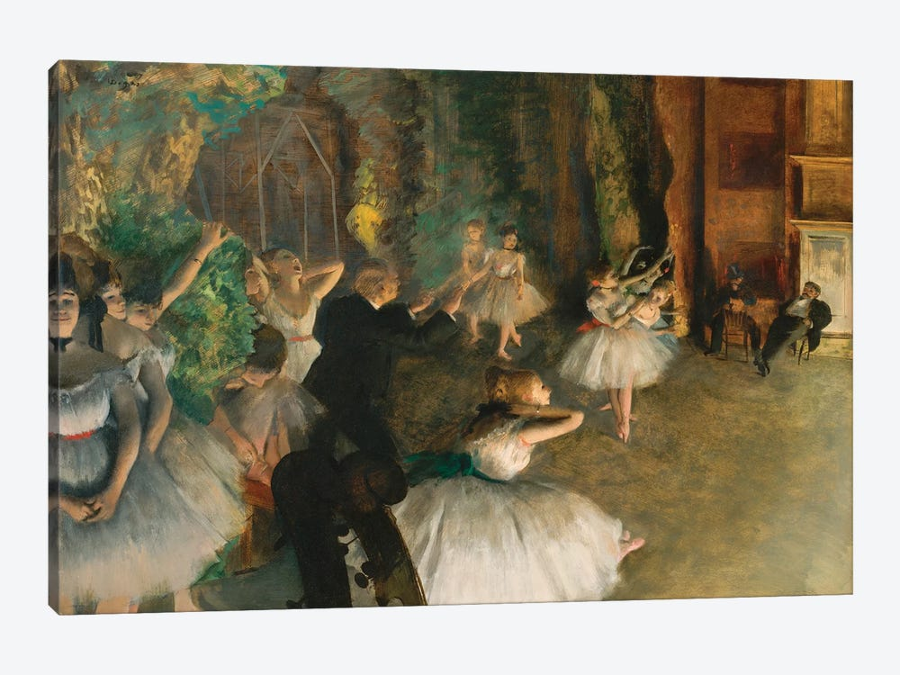 The Rehearsal Of The Ballet Onstage by Edgar Degas 1-piece Canvas Wall Art