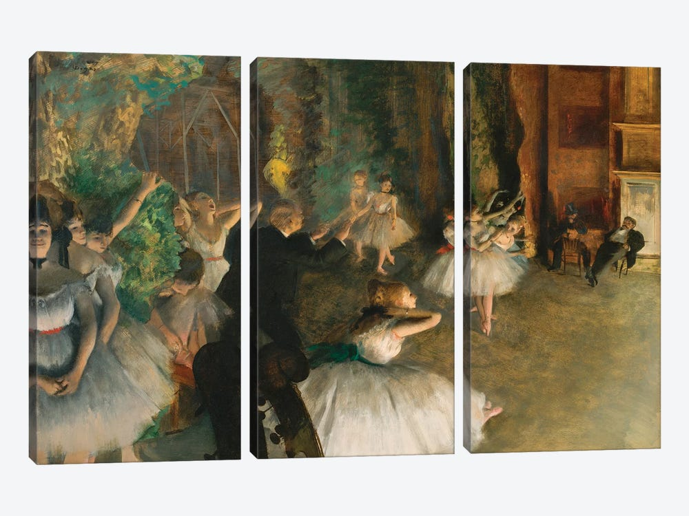 The Rehearsal Of The Ballet Onstage by Edgar Degas 3-piece Canvas Wall Art