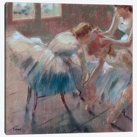 Three Dancers Preparing For Class Canvas Print #WAG68} by Edgar Degas Art Print
