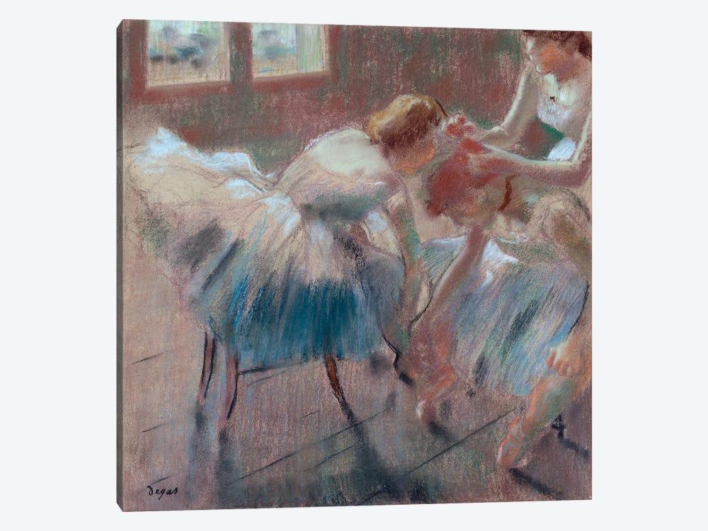 Three Dancers Preparing For Class by Edgar Degas 1-piece Canvas Print