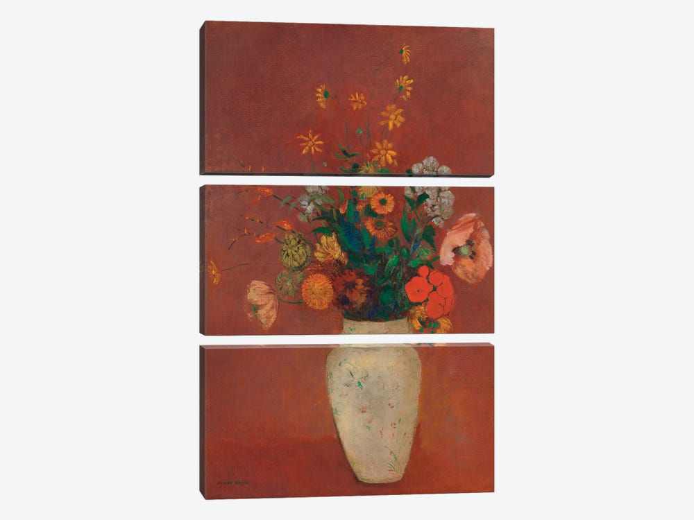 Bouquet In A Chinese Vase by Odilon Redon 3-piece Art Print