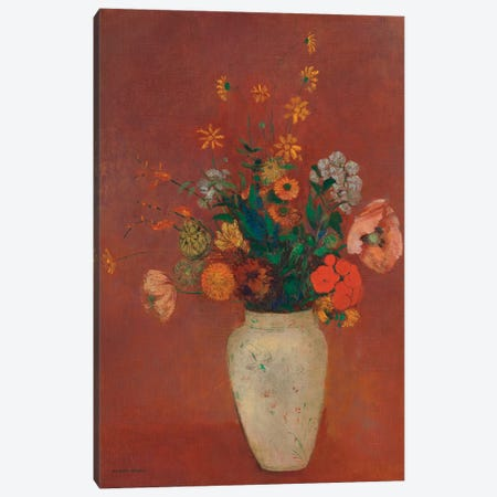 Bouquet In A Chinese Vase 3-Piece Canvas #WAG75} by Odilon Redon Art Print