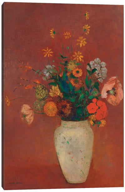 Bouquet In A Chinese Vase Canvas Art Print