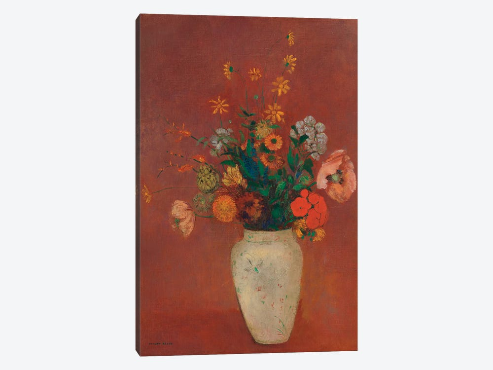 Bouquet In A Chinese Vase by Odilon Redon 1-piece Canvas Print