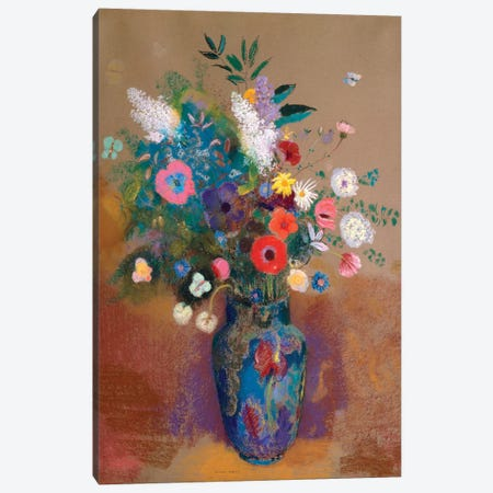 Bouquet Of Flowers 3-Piece Canvas #WAG76} by Odilon Redon Canvas Print