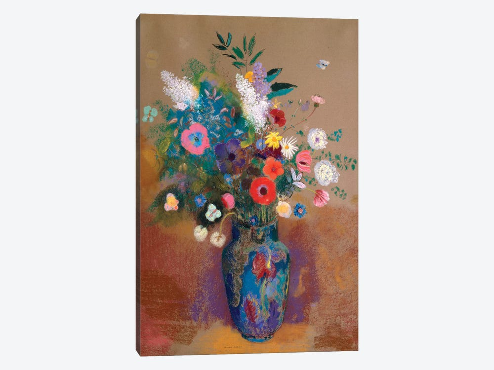Bouquet Of Flowers by Odilon Redon 1-piece Canvas Wall Art