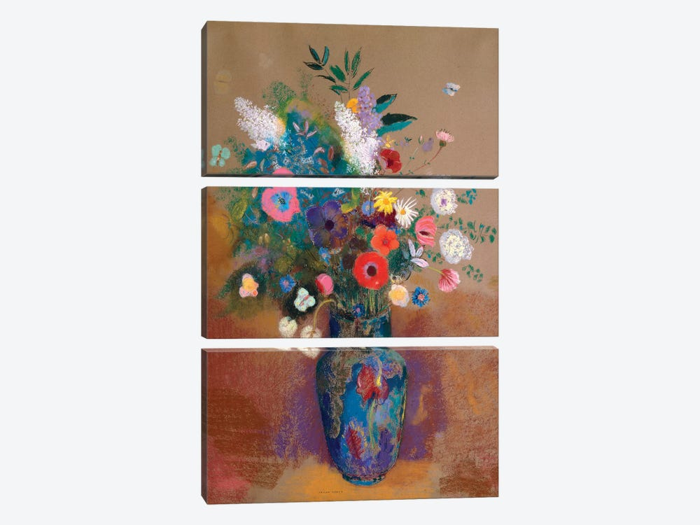 Bouquet Of Flowers by Odilon Redon 3-piece Canvas Artwork