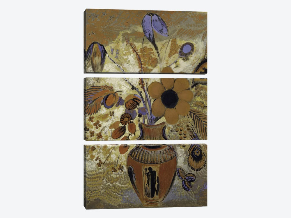 Etruscan Vase With Flowers by Odilon Redon 3-piece Canvas Art Print