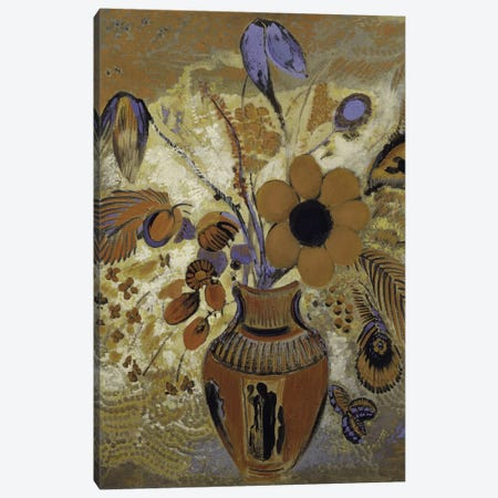 Etruscan Vase With Flowers 3-Piece Canvas #WAG77} by Odilon Redon Canvas Art Print