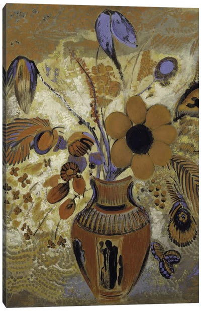 Etruscan Vase With Flowers Canvas Art Print