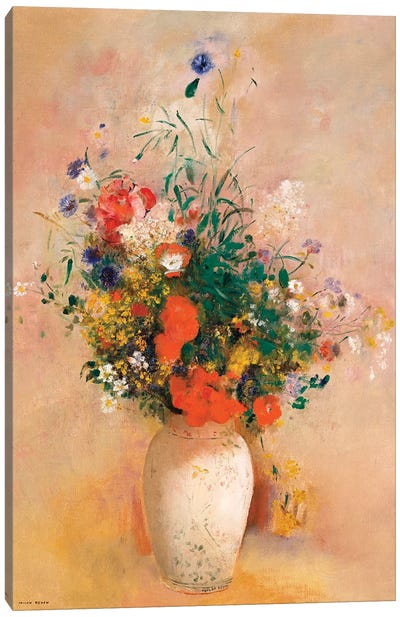 Vase Of Flowers (Pink Background) Canvas Art Print