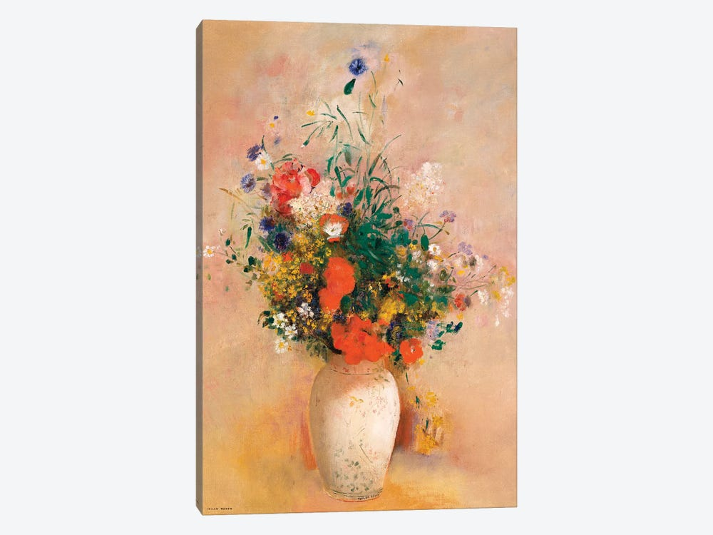 Vase Of Flowers (Pink Background) by Odilon Redon 1-piece Canvas Artwork