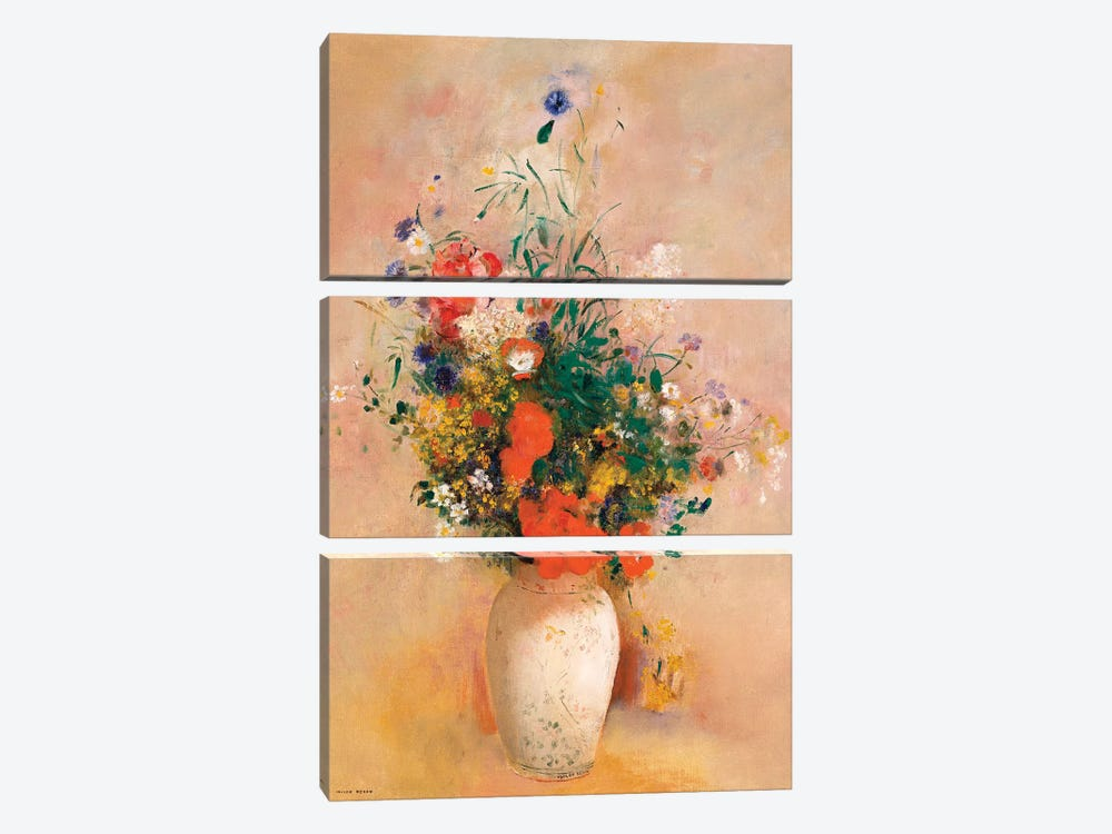 Vase Of Flowers (Pink Background) by Odilon Redon 3-piece Canvas Wall Art