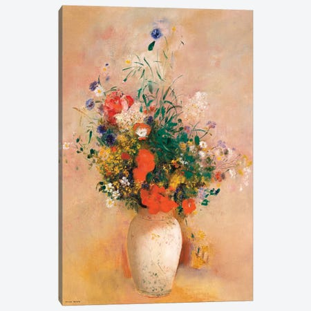 Vase Of Flowers (Pink Background) Canvas Print #WAG78} by Odilon Redon Canvas Wall Art