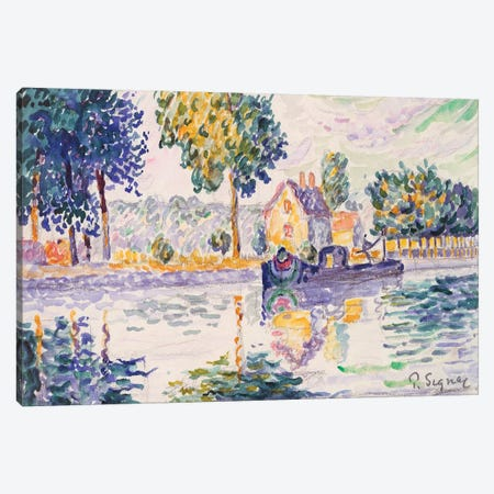 View Of The Seine, Samois 3-Piece Canvas #WAG88} by Paul Signac Canvas Art Print