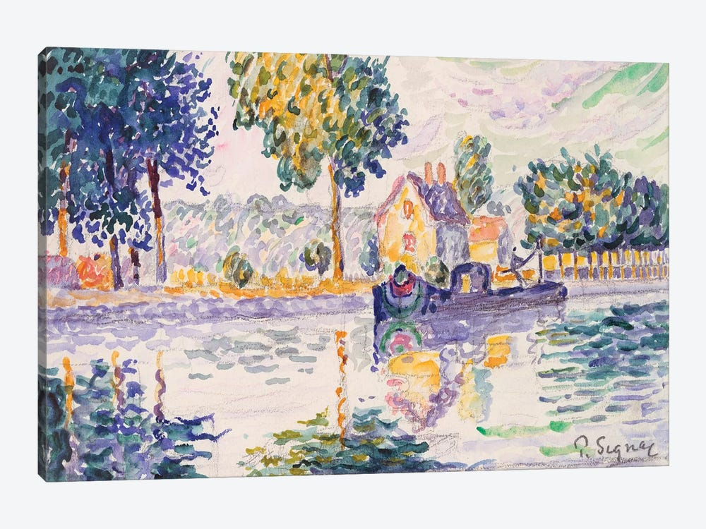 View Of The Seine, Samois by Paul Signac 1-piece Canvas Art Print