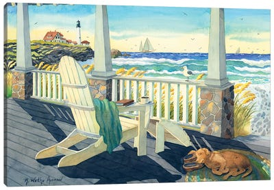 Morning Coffee At The Beach House Canvas Art Print