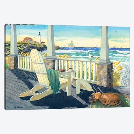 Morning Coffee At The Beach House 3-Piece Canvas #WAL22} by Robin Wethe Altman Canvas Wall Art