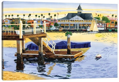 Newport Harbor Sunset Canvas Art Print