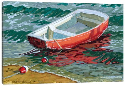 Red Skiff Canvas Art Print