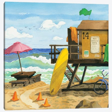 San Clemente Lifeguard Stand Canvas Print #WAL29} by Robin Wethe Altman Canvas Art