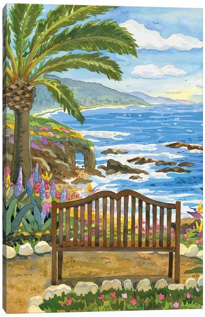 Bench At The Montage Canvas Art Print