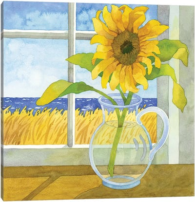 Sunflower In The Window Canvas Art Print