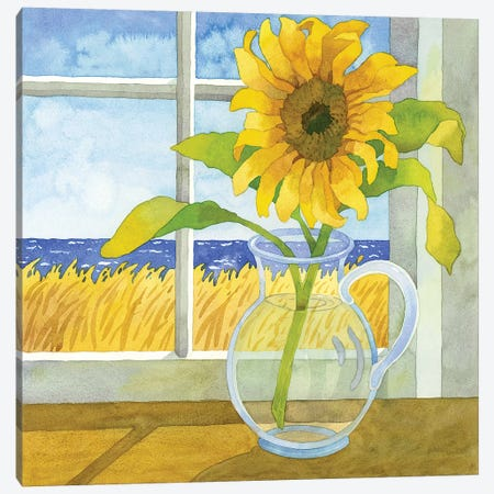 Sunflower In The Window Canvas Print #WAL32} by Robin Wethe Altman Canvas Print