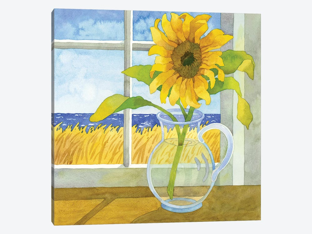 Sunflower In The Window by Robin Wethe Altman 1-piece Canvas Print