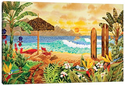 Surfing The Islands Canvas Art Print