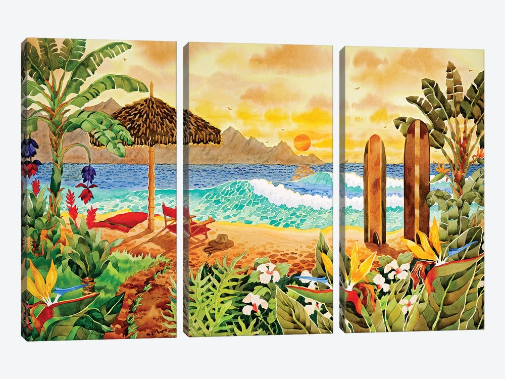 Surfing The Islands by Robin Wethe Altman 3-piece Canvas Art